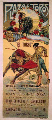 "Plaza De Toros El Toreo Vintage Bullfighting Poster 1926 Bull Fighting 14""x30"" by rodneysbookstore, http://www.amazon.com/dp/B001TXY57Q/ref=cm_sw_r_pi_dp_ebbgqb1BJWCNK"