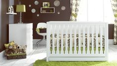 brown, green, and white themed nursery