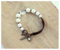Bohemian Pearls Bracelet White Pearls Clear by DreamCJewelry