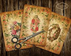 VINTAGE EMPHERA - Instant Download Digital Collage Sheet Digital Cards Scrapbook Paper Decoupage Paper Set of 4 quakasu 3.60 USD