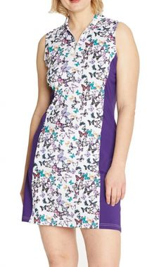 "#lorisgolfshoppe Women's Golf Apparel offers a classy collection of golf skorts, shorts, dresses, and golf tops. You gotta see this PULSE (Flutter/Plum) GGblue Ladies Nova 36.5"" Sleeveless Golf Dress with unique , pretty colors!"