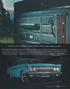 """Description: 1964 FORD MERCURY vintage magazine advertisement """"Comet Caliente"""" -- There's a lot of America's finest luxury cars in every Comet Caliente ... A Mercury Product ... (advertisement appeared in print in December, 1963) -- Size:"""
