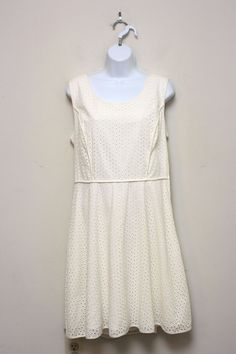 Max Studio White Eyelet Sleeveless Cotton Fit & Flare Dress Empire Waist…