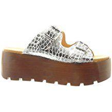 Angkorly - Chaussure Mode Sabot Sandale plateforme femme lanière boucle bois Talon compensé plateforme 7 CM - Argent
