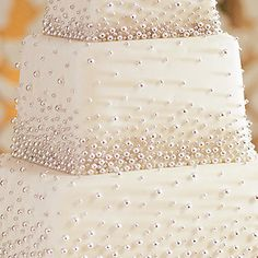 "Pearl Wedding Cake...I think I might like it better if the ""pearls"" were clustered together at the top, so it looked like they were rising like bubbles instead of falling."