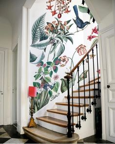 Home Decor Inspiration Bien fait.Home Decor Inspiration Bien fait Wallpaper Staircase, Wallpaper In Hallway, Bathroom Wallpaper, Wall Paper Bathroom, Apartment Wallpaper, Boho Bathroom, Bathroom Ideas, Home And Deco, Home Decor Trends
