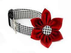 New Flower Collars....Classic Houndstooth...Stylish and Trendy...Made in the USA !
