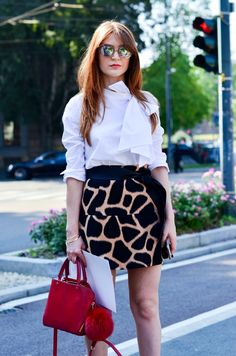 The perfect white bow shirt and a Michael Kors skirt I fell in love with