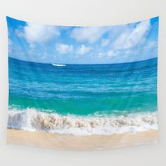 Wall Tapestry with sandy beach in Hawaii Kauai by EllenSmilePhoto