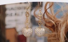 14K Gold Plated, Thick Chain Earring, Lovely Korean Jewelry, White Cubic Earring, Heart Earring