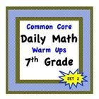 Time Saving Daily Math Warm Ups for the 7th Grade - Common Core Aligned. Key included!