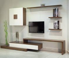 Modern Living Room TV Wall - 17 Outstanding Ideas For TV Shelves To Design More Attractive Living Room. Living Room Tv Cabinet Designs, Dresser In Living Room, Living Room Designs, Tv In Living Room, Tv Stand Ideas For Living Room, Shelf Designs For Hall, Muebles Rack Tv, Ideas Decorar Habitacion, Tv Wanddekor