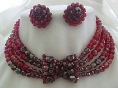 COPPOLA E TOPPO Red Crystal Necklace & Earrings Set from vintagejewelrytoo on Ruby Lane