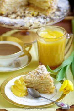 Napoleon Cake with Lemon Curd Napoleon Cake, Lithuanian Recipes, Lemon Curd, Pudding, Bread, Breakfast, Desserts, Food, Cakes