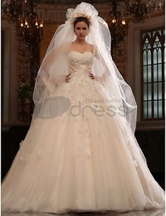A-line Cathedral Train Tulle Satin Wedding Dress