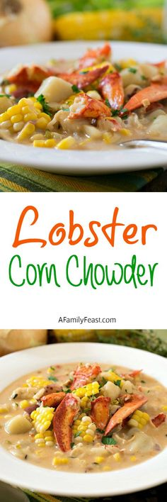 Lobster Corn Chowder - The tastes of summer at the beach in a bowl! A light and creamy super flavorful broth loaded with chunks of lobster, corn and potatoes. Seafood Recipes, Soup Recipes, Great Recipes, Cooking Recipes, Favorite Recipes, Recipies, Seafood Bake, Chowder Recipes, Fresh Seafood