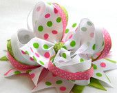 Girls hair bows Boutique hair bows hair bows hot pink apple green polka dot hair bow stacked hair bow infants, toddlers, girls
