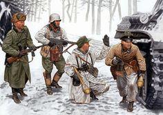 Soldiers Painting Art German panzergrenadiers, SS-Frw.Pz. Gren. Div. Nordland, Vistula-Oder offensive, 1945 Army