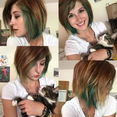 Chunky baylage with cats and bangs! Emerald green.