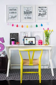 Home office with yellow chair. Eye popping home office (found via half asleep studio). Home Office Design, Home Office Decor, House Design, Home Decor, Office Ideas, Office Furniture, Furniture Design, Office Designs, Bedroom Furniture