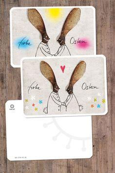 2er-Set Osterkarten: *Frohe Ostern*  *Liebevolle Osterhasen!*  Diese Osterkarten sind A6 groß, haben abgerundete Ecken. Die Vorderseite ist matt, die Rückseite matt, zum Beschriften.   ©...