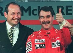 """""""Like cats and dogs.But good smile"""" Ron Dennis / Nigel Mansell, Marlboro McLaren-Mercedes Launch). 1995."""