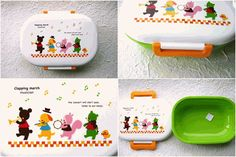 This is really cute 1 layer bento box! It is called Clapping March Picnic. There are cute animals on picnic like 2 bear, dog, squirrel and chick on the lid. So kawaii. #bento #lunch #bentobox #lunchbox