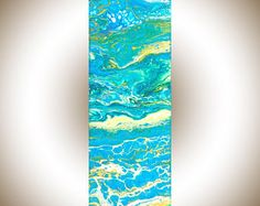 Abstract painting Acrylic pour fluid art Colourful Abstract original artwork canvas art acrylic Painting turquoise blue green by qiqigallery