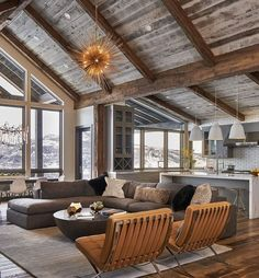 A pair of Texans construct a contemporary cabin, their own modern mountain home, in Steamboat Springs, Colorado. home mountain, Modern Meets Mountain Contemporary Cabin, Modern Mountain Home, Mountain Homes, Mountain Ranch House Plans, Mountain House Decor, Mountain Living, Pole Barn Homes, Pole Barn House Plans, Lake House Plans
