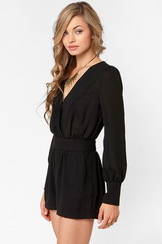 Dresses are great, but do you know what's even better? The Even Better Black Long Sleeve Romper! Black Georgette with a pleated deep V surplice bodice. Black Long Sleeve Romper, Long Romper, Black Romper Outfit, One Piece Clothing, Summer Outfits, Cute Outfits, Cute Rompers, One Piece Dress, Mode Style