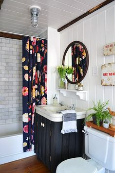 Guest bathroom renovation reveal including marble subway tile shower repaired toilet white planked walls and ceiling and vintage first aid kits mirror and sink. White Plank Walls, Planked Walls, Dark Walls, Bathroom Renovations, Home Remodeling, Remodel Bathroom, Decorating Bathrooms, Remodeling Contractors, Home Decor Ideas