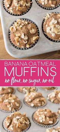 Healthy Banana Oatmeal Muffins, No Flour, No Sugar, No Oil, Gluten Free Muffins, Healthy Oatmeal muffins, no sugar muffins via @brendidblog