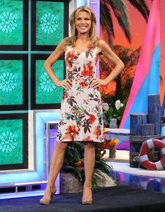 TOMMY BAHAMA: Piccolo Petals tank dress in abstract floral print in orange, teal, brown, ocre on beige background, scoop neckline, sleeveless, straight skirt   Vanna White's dresses   Wheel of Fortune
