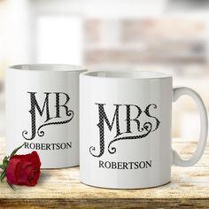 Personalised Dotty Mr and Mrs Mug Set