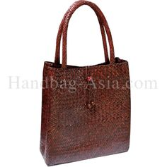 Classic hand-Made Light Brown Bamboo Bag for women.