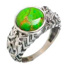 Green Copper Composite Turquoise 925 Sterling Silver Ring Size 8.25 RING767392