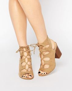 Image 1 ofNew Look Wide Fit Lace Up Block Heeled Sandal