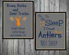 Lot of two .JPEG 8X10 Little boys room framable prints. Hunting Bows racks and deer tracks to go to sleep I count antlers not sheep
