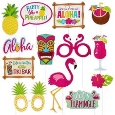 Glitter Tropical Photo Booth Props 13ct