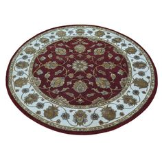 Round Hand-knotted Rajasthan Wool and Rug