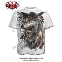 Spirit of the wolf white t-shirt Fantasy Tattoos, Wolf T Shirt, Cool T Shirts, Lion Sculpture, Mens Tops, Spirit, Clothes, Biker, Amazon