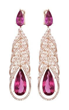 Chopard Red Carpet Collection - pear-shaped rubellites surrounded by diamonds set in rose gold (=)