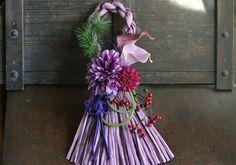 響花 アーティフィシャルフラワー しめ縄 お正月 お正月飾り パープル 神戸よりハンドメイド プレミアム 紫