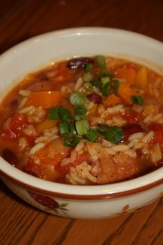 Kielbasa, Red Beans, and Rice Soup - This was yummy! - I used 1/2 T. Cajun seasoning and reg. tomatoes for a little less spice