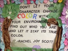 Rachel's challenge bulletin board.                                                                                                                                                                                 More
