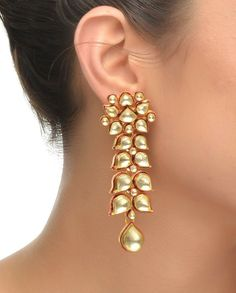 Long Kundan Earrings with Red Enamel #Jewelry #Fashion #New #Stones #Studded #Ethnic #Indian #Traditional