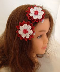 Girls set of two Kanzashi Red/White Hair Clips, (fits toddlers and babies). CuteseyTootsie