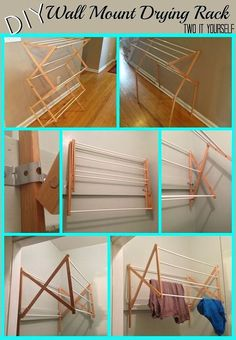diy laundry drying rack wall mount from floor standing, diy, laundry rooms