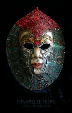 Pluton  art by Nadine Pau (Nadine Shahristenberg)  papier mache, sculpture, tempera, acrylic, oil, lacquer, patina,  interior mask.