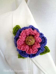 Fiber Flux...Adventures in Stitching: Free Crochet Pattern...Layered Ruffle Flower